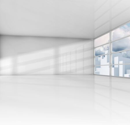 empty office: Abstract white interior, empty office room with modern cityscape outside. 3d render illustration