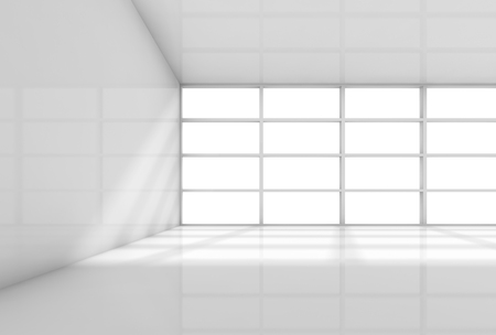 office space: Abstract white interior, empty office room with daylight from the window. 3d render illustration