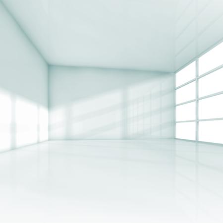 ventana abierta interior: Interior blanco abstracto, sala de oficina vacía con ventanas. Plaza de la ilustración 3d
