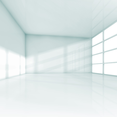 Abstract white interior, empty office room with windows. Square 3d illustration