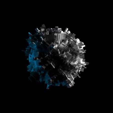 raumschiff: Abstrakt fliegende sphärische Objekt mit chaotischen extrudierte Fläche isoliert auf schwarz, 3D-Darstellung Lizenzfreie Bilder