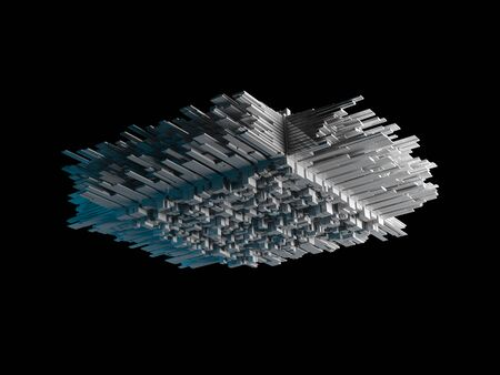 spaceship: Abstract flying object with chaotic extruded surface isolated on black, 3d illustration