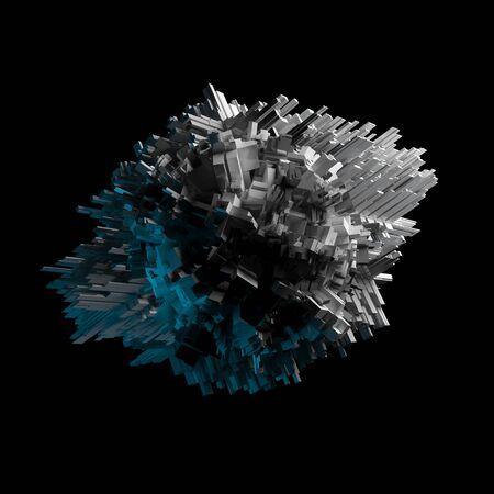 raumschiff: Abstrakt fliegende chaotische Objekt mit extrudierten Oberfl�che isoliert auf schwarz, 3D-Darstellung