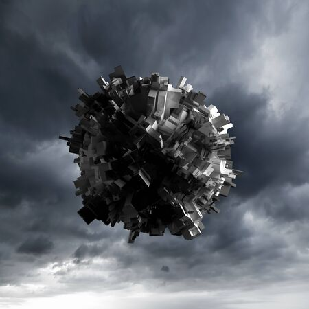 spheric: Abstract flying spheric object with chaotic extruded surface over dark cloudy sky, 3d illustration Stock Photo