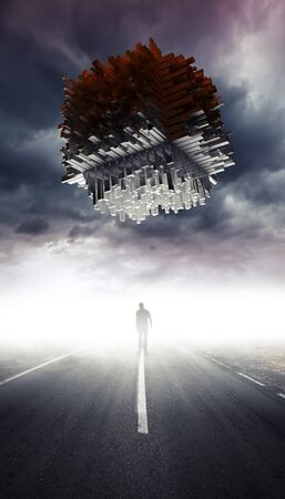 landscape road: Science fiction illustration with a man on the road going to the big abstract spaceship Stock Photo
