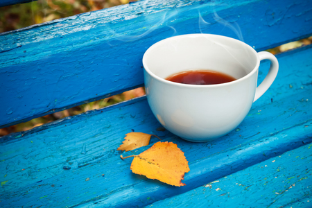 tonal: White cup of black tea is on old blue wooden bench in autumn park.  Selective focus with shallow DOF, vintage tonal photo filter, retro style photo