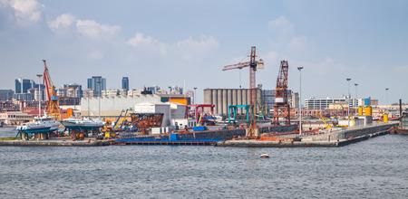 shipyard: Port of Naples, coastal cityscape with shipyard dock