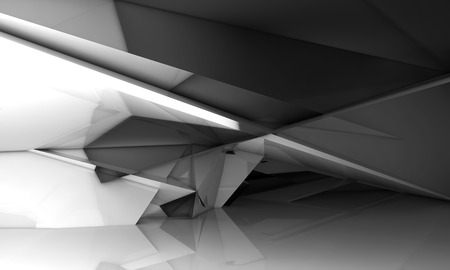 Abstract empty room interior with shining chaotic polygonal crystal structure, 3d illustration, digital background