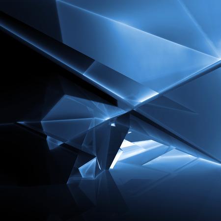 暗い青い照らされた多角形構造、3 d イラストレーション デジタル抽象的な背景 写真素材