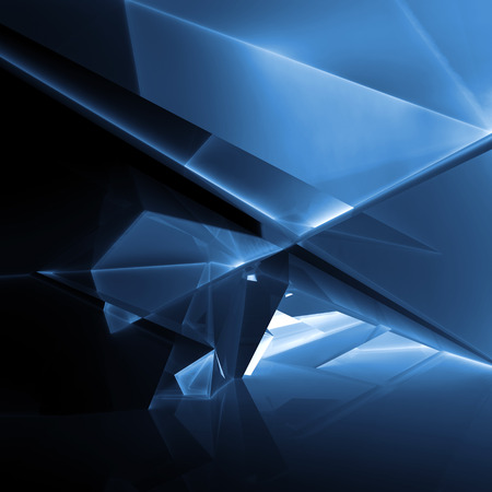 Abstracte digitale achtergrond met donkerblauwe verlichte veelhoekige structuur, 3d illustratie