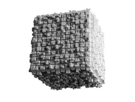 artistic design: Abstract flying cube with chaotic extruded surface isolated on white background, 3d illustration