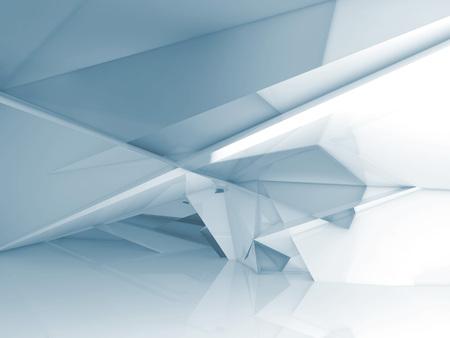 혼란 다각형 결정 구조와 추상적 인 빈 방 인테리어, 블루 톤의 3D 그림, 디지털 배경