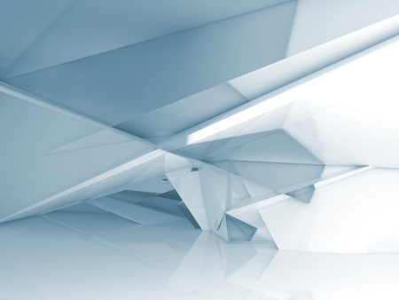 Abstract empty room interior with chaotic polygonal crystal structure, Blue toned 3d illustration, digital background