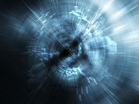 Abstract blue digital background, blurred tunnel perspective with chaotic structures, 3d illustration Banque d'images