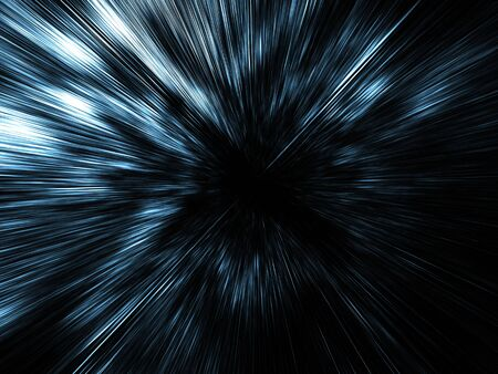 cyberspace: Abstract digital image with dark blue fast motion blur effect on black background