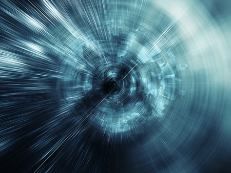 Abstract blue digital background, blurred tunnel perspective with chaotic structures in the end, 3d illustration Stock Photo