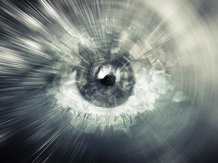 and future vision: Concepto de visión digital, ilustración abstracta con estructuras caóticas mezclados con ojo humano Foto de archivo