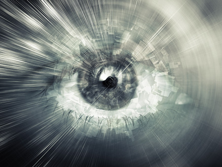 eye closeup: Digital vision concept, abstract illustration with chaotic structures mixed with human eye Stock Photo