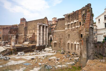 forums: Remains of Imperial forums in Rome Italy