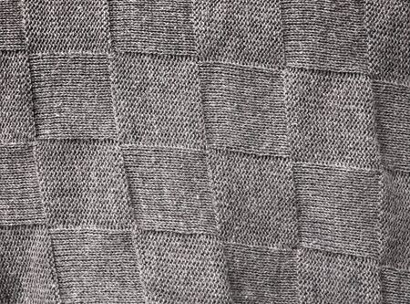 tejido de lana: Gray woolen fabric with squares pattern background texture