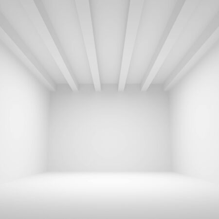 celling: Abstract white architecture background. Empty room interior, 3d illustration, front view Stock Photo