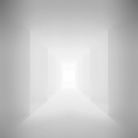 corridor: Abstract architecture background. White corridor Interior with corners, 3d illustration Stock Photo