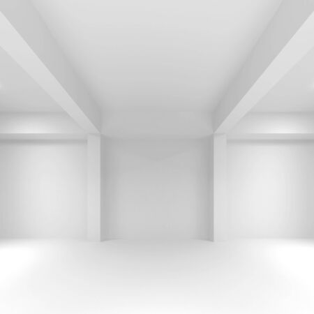stage decoration abstract: Abstract white empty interior background with soft illumination, 3d illustration, front view