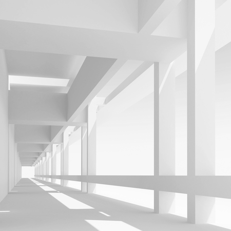 corridor: Abstract architecture background with empty white corridor perspective, 3d illustration