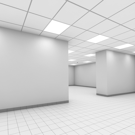 ceiling design: Abstract white office interior background. Digital 3d illustration