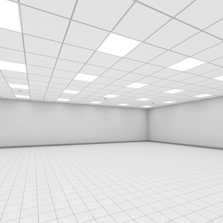 perspective room: Abstract modern white office interior background. 3d illustration