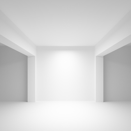 frontal view: Abstract white empty interior background with soft illumination, 3d illustration, frontal view Stock Photo