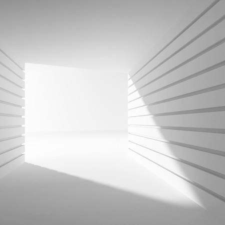 Empty white abstract interior with angle of light in gate, 3d illustration