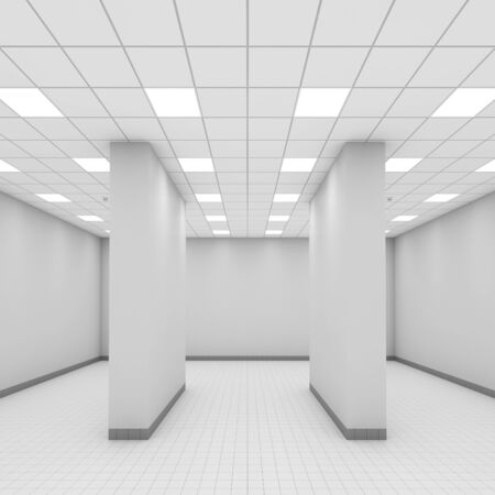 wall: Abstract modern white office interior with columns. 3d illustration, front view