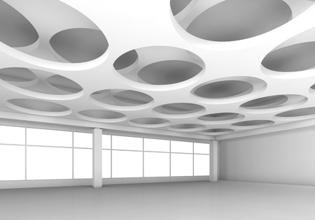 architecture design: Empty white interior background with round holes pattern on ceiling, 3d illustration