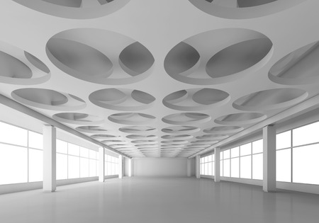 frontal: Empty white interior background with round holes pattern on ceiling, 3d illustration, frontal perspective view