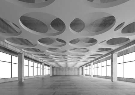 Empty concrete interior background with round holes pattern on white ceiling constructions, 3d illustration, frontal perspective view Standard-Bild
