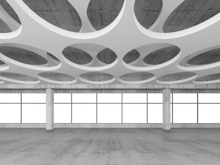 empty space: Empty concrete interior background with round holes pattern on white ceiling constructions, 3d illustration, frontal view Stock Photo