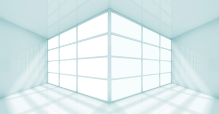 white window: Abstract white interior of an empty office room with windows corner. 3d render illustration Stock Photo