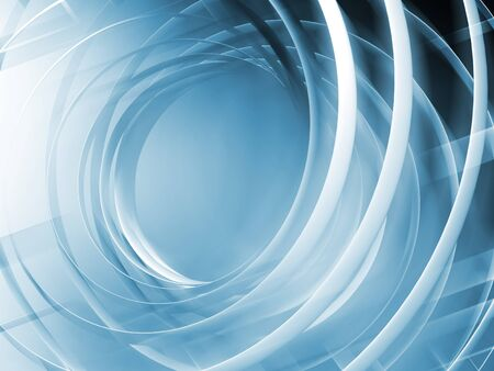 white wave: Monochrome blue toned abstract digital 3d spiral background Stock Photo