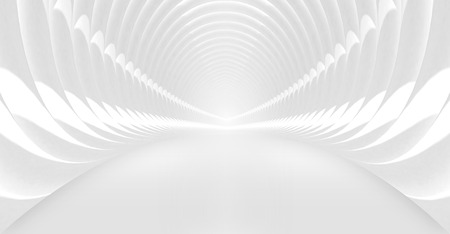 corridor: Abstract background with symmetric white shining tunnel interior. 3d illustration