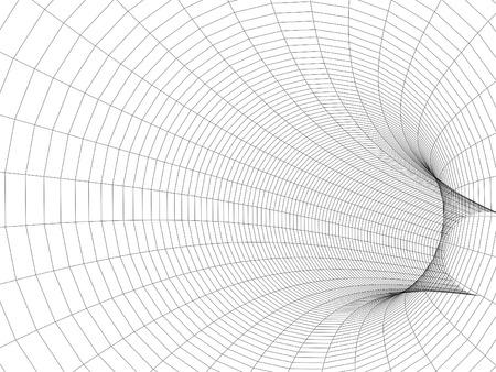 回転管トンネル 3 d イラスト。白の背景に黒のワイヤー フレーム デジタル メッシュ