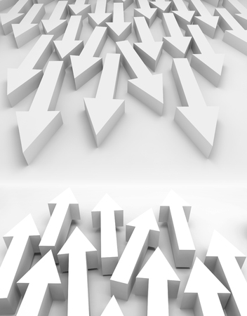 towards: Abstract 3d illustration with large groups of white arrows going towards each other Stock Photo