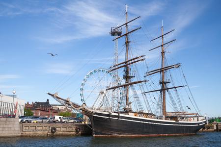 brig ship: Helsinki, Finland - June 12, 2015: The brig Gerda stands moored in Helsinki port , old wooden sailing ship