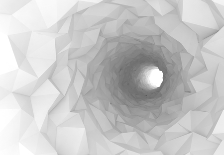 tunnel portals: Turning white tunnel interior with chaotic polygonal surface. Digital 3d illustration
