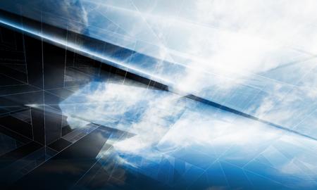 하늘과 와이어 프레임 라인에 어두운 다각형 구조와 추상적 인 디지털 배경, 3D 그림
