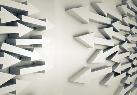 towards: Abstract 3d illustration with groups of white arrows going towards each other