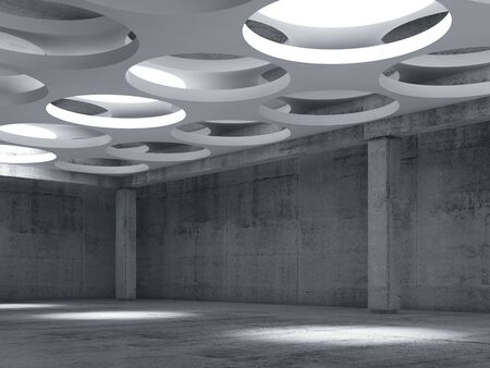 Empty dark concrete hall interior with big round lamps in white suspended ceiling, 3d illustration background