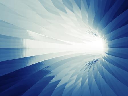 Turning blue shining tunnel interior. 3d illustration 스톡 콘텐츠