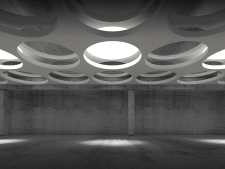 suspended: Empty dark concrete hall interior with round lamps in suspended ceiling, 3d illustration background, front view