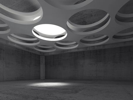 suspended: Empty dark concrete hall interior with round illumination hole in white suspended ceiling, 3d illustration background